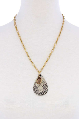 Gold Chain Snake Print Tear Drop Shape Chain Necklace - Teal Pineapple Boutique