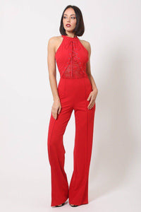 Halter Neck Jumpsuit W/ Criss Cross Front Tie Design in Red - Teal Pineapple Boutique