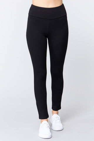High Waist Slim Long Ponte Pants in Black