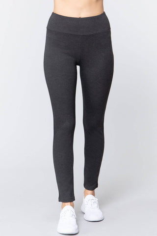 High Waist Slim Long Ponte Pants in Charcoal Gray