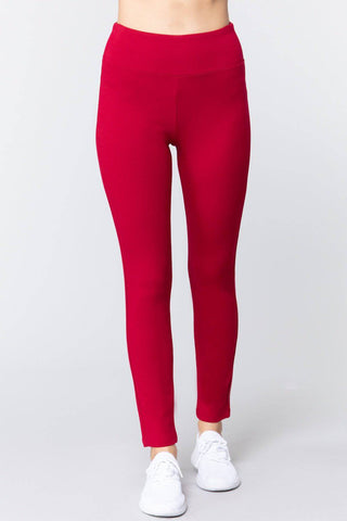 High Waist Slim Long Ponte Pants in Dark Red