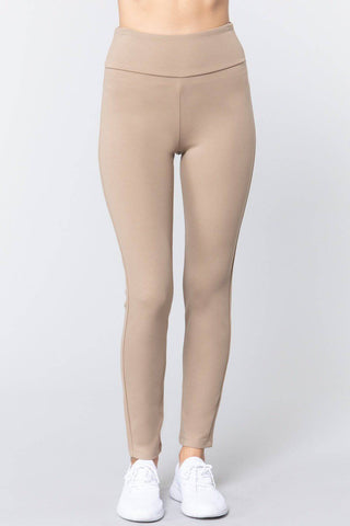 High Waist Slim Long Ponte Pants in Deep Khaki