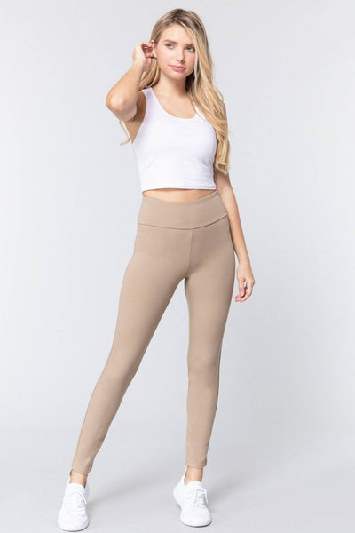 High Waist Slim Long Ponte Pants in Deep Khaki - Teal Pineapple Boutique