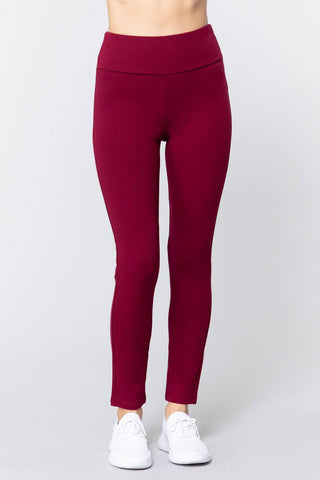 High Waist Slim Long Ponte Pants in Fire Brick