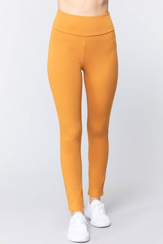 High Waist Slim Long Ponte Pants in Mustard Yellow - Teal Pineapple Boutique