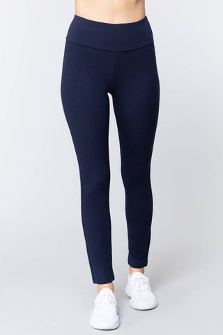 High Waist Slim Long Ponte Pants in Navy Blue