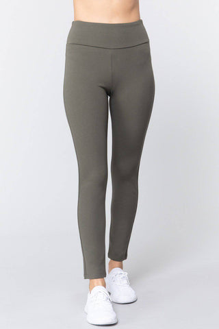 High Waist Slim Long Ponte Pants in New Olive