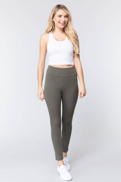 High Waist Slim Long Ponte Pants in New Olive - Teal Pineapple Boutique