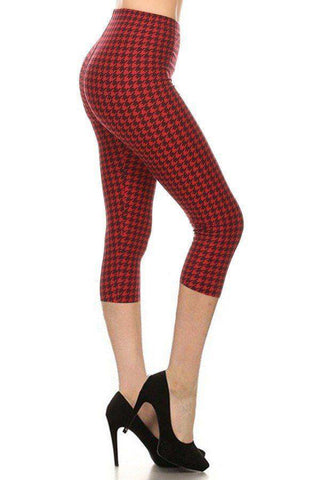 Houndstooth Red Black High Waisted Capri Leggings With An Elasticized Waist Band