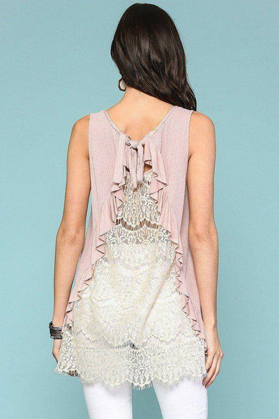 Lavender Pink Sleeveless Back Lace Ruffle Detail Tank Top - Teal Pineapple Boutique