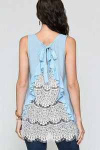 Light Blue Sleeveless Back Lace Ruffle Detail Tank Top - Teal Pineapple Boutique