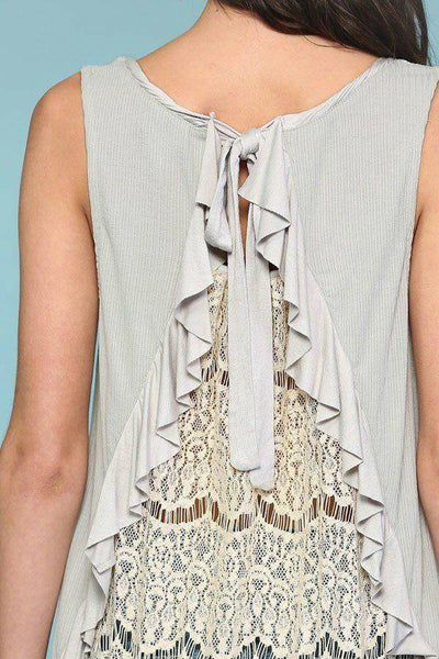 Light Grey Sleeveless Back Lace Ruffle Detail Tank Top - Teal Pineapple Boutique