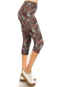 Lizards High Waisted Capri Leggings With An Elasticized Waist Band - Teal Pineapple Boutique