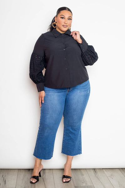 Long Sleeve Button Up Blouse With Punched Sleeves Plus Size Top in Black - Teal Pineapple Boutique