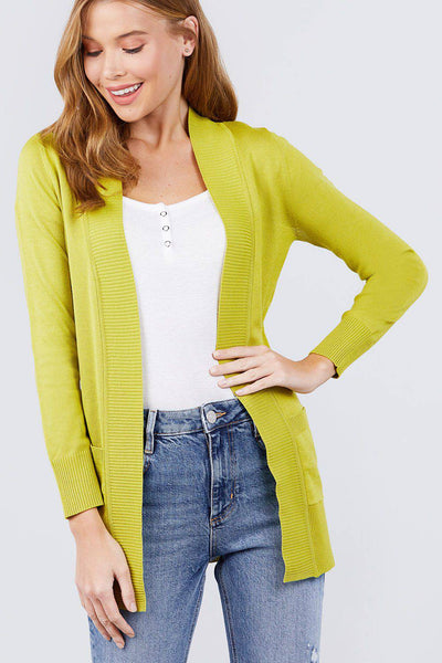 Long Sleeve Ribbed Open Cardigan Sweater Pockets Lime Green - Teal Pineapple Boutique