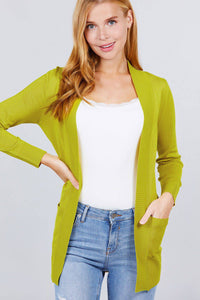 Long Sleeve Ribbed Open Cardigan Sweater Pockets Lime - Teal Pineapple Boutique