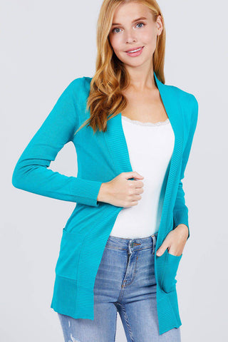 Long Sleeve Ribbed Open Cardigan Sweater Pockets Turquoise - Teal Pineapple Boutique