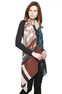 Multi Color Block Vivid Square Pattern Scarf in Pink or Brown