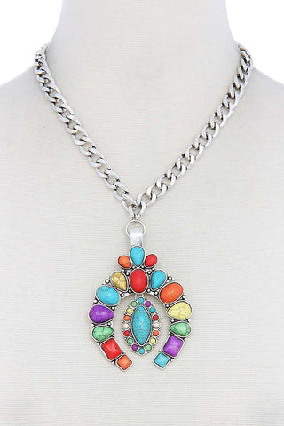 Multi Stone Southwestern Boho Squash Blossom Pendant Necklace - Teal Pineapple Boutique