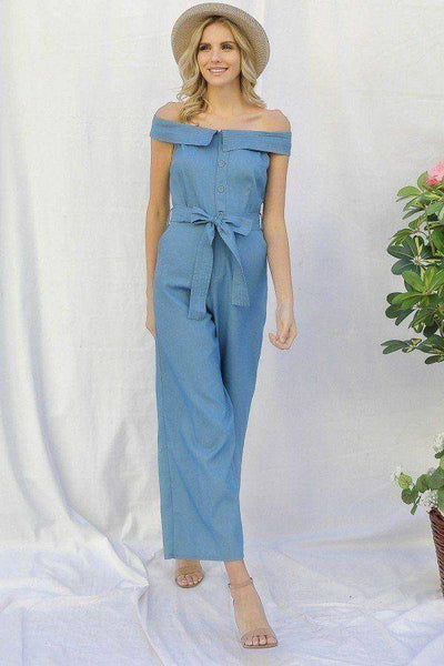 Off-shoulder Chambray Denim Wide Leg Palazzo Jumpsuit With Waist Tie in Light Denim - Teal Pineapple Boutique