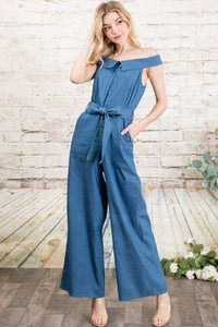 Off-shoulder Chambray Denim Wide Leg Palazzo Jumpsuit With Waist Tie in Medium Denim - Teal Pineapple Boutique