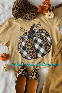 """ Plaid Leopard Pumpkin "" Vintage Style Bella Canvas Graphic Tee Shirt - Teal Pineapple Boutique"