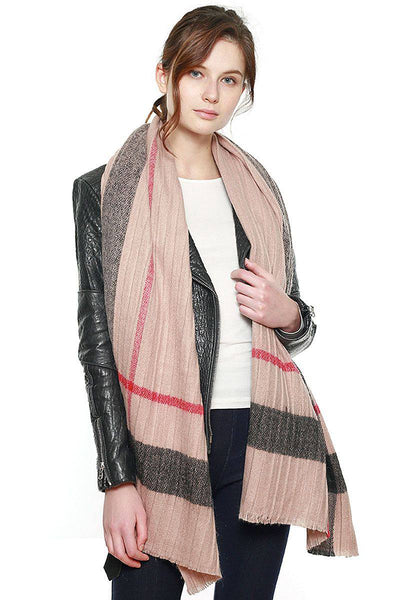 Plaid Pattern Pleated Raw Hem Scarf in Pink or Grey - Teal Pineapple Boutique