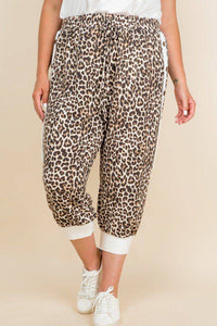Plus Size Animal Print French Terry Cropped Jogger Pants - Teal Pineapple Boutique