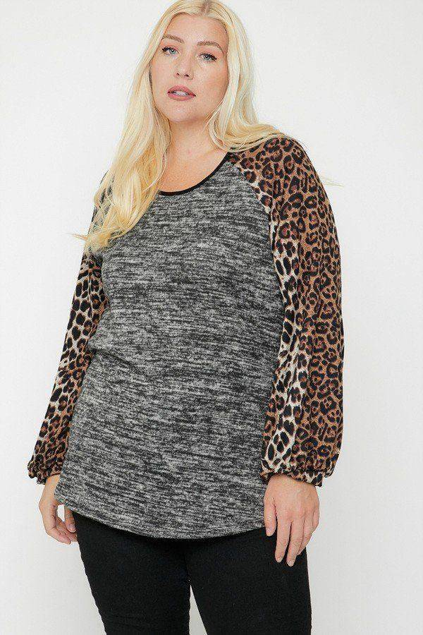 Plus Size Bubble Sleeve Cheetah Two Tone Color Top - Teal Pineapple Boutique