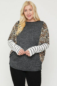 Plus Size Cheetah Animal Print Long Sleeve Top Charcoal - Teal Pineapple Boutique