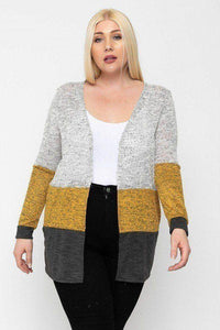 Plus Size Color Block Lightweight Cardigan Dark Gray - Teal Pineapple Boutique