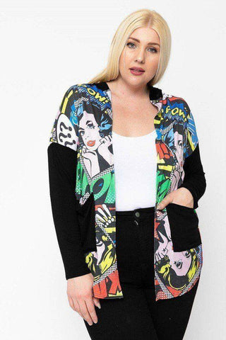 Plus Size Comic Print Lightweight Hoodie Cardigan Black - Teal Pineapple Boutique