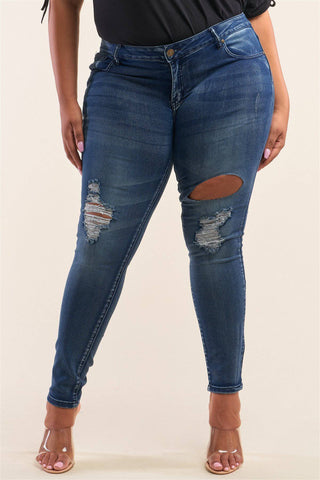 Plus Size Dark Blue Low-rise Ripped Denim Jeans Pants - Teal Pineapple Boutique