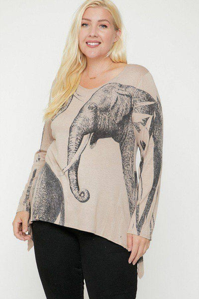 Plus Size Elephant Sublimation Print Top in Olive - Teal Pineapple Boutique