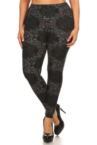 Plus Size Floral Medallion Pattern Printed Knit Legging With Elastic Waistband - Teal Pineapple Boutique