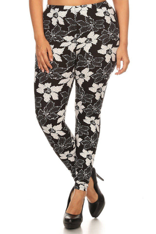 Plus Size Floral Pattern Printed Knit Legging With Elastic Waistband - Teal Pineapple Boutique