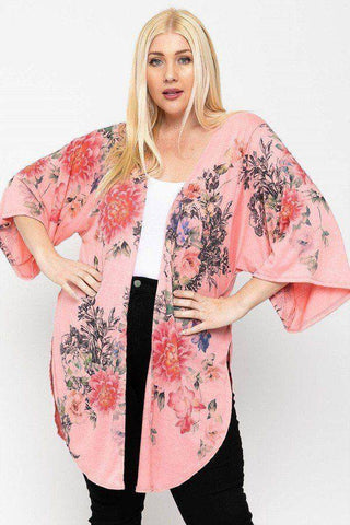 Plus Size Floral Print Long Body Kimono Cardigan Coral - Teal Pineapple Boutique