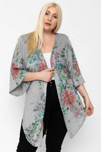 Plus Size Floral Print Long Body Kimono Cardigan Gray - Teal Pineapple Boutique