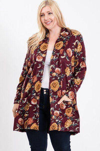 Plus Size Flower Print Pocket Flower Print Hacci Cardigan Burgundy - Teal Pineapple Boutique