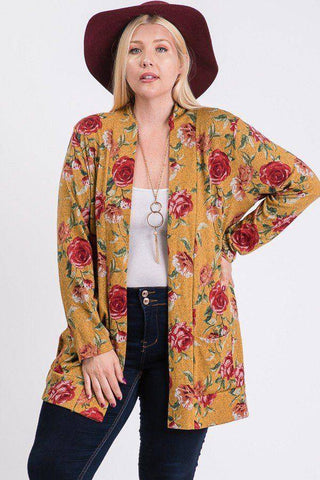 Plus Size Flower Print Pocket Flower Print Hacci Cardigan Mustard - Teal Pineapple Boutique