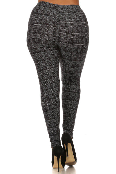 Plus Size Knit Pattern Print Full Length Leggings - Teal Pineapple Boutique