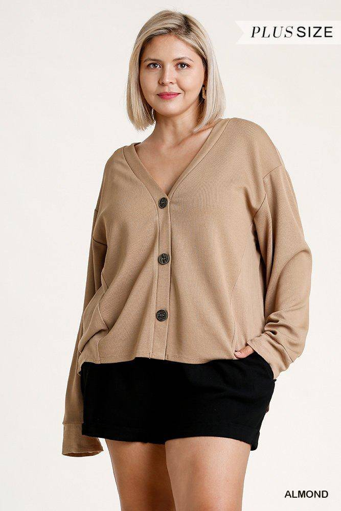 Plus Size Linen Button Down Cardigan High Low Hem Almond