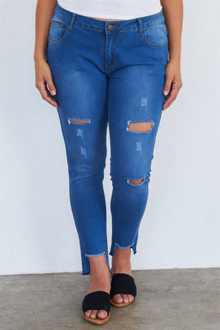 Plus Size Medium Blue Ripped Jeans Pants - Teal Pineapple Boutique