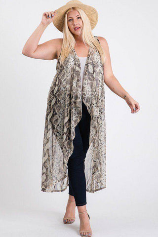 Plus Size Mesh Sleeveless Long Vest Snakeskin - Teal Pineapple Boutique