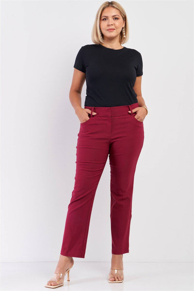 Plus Size Mid-rise Two Side Leg Zipper Pants in Earth Red