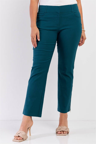 Plus Size Mid-rise Two Side Leg Zipper Pants in Shaded Spruce - Teal Pineapple Boutique