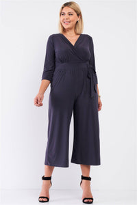 Plus Size Plunging V-neck Midi Jumpsuit in Dark Gray - Teal Pineapple Boutique