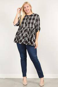 Plus Size Roll Sleeve Baby Doll Plaid Tunic Top Black - Teal Pineapple Boutique