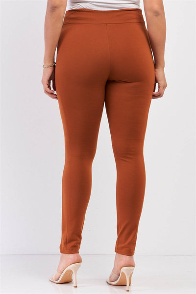 Plus Size Rubber Side Detail Lace Legging Slim Pants Rust - Teal Pineapple Boutique