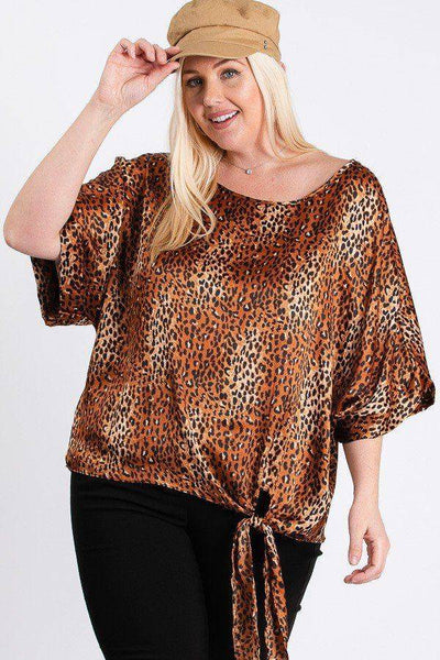 Plus Size Short Sleeve Side Knot Hemline Leopard Print Woven Plus Size Top in Rust - Teal Pineapple Boutique